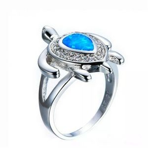 Silver Turtle 925 Plated Blue Art Opal Ring Size 7